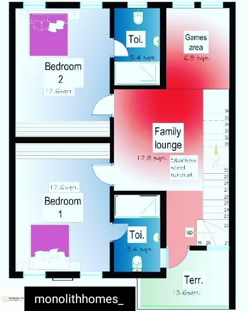 First Floor Layout Of Monolith Homes 4 Bedroom Terraces With BQ